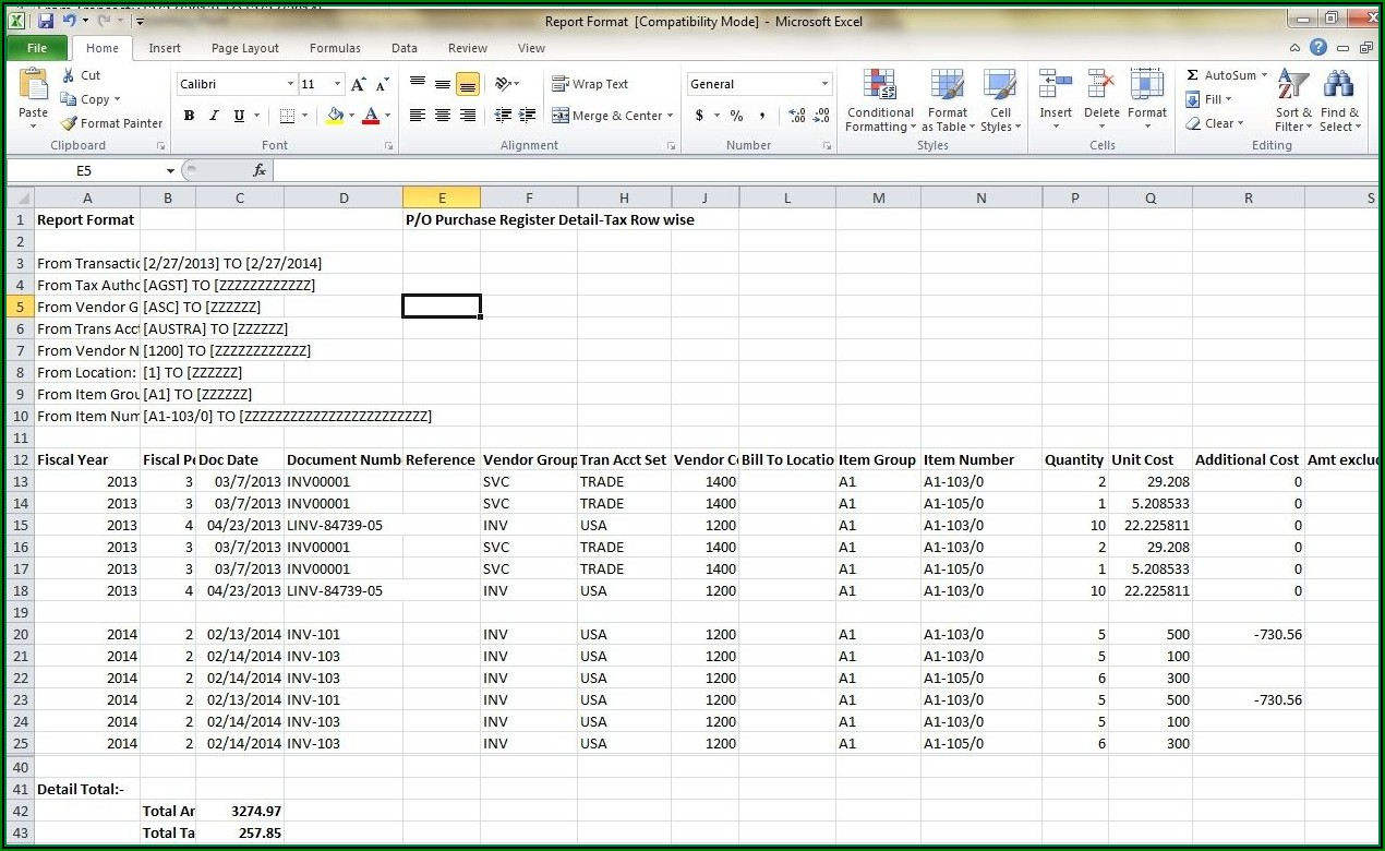 Purchase Order Format Excel Free