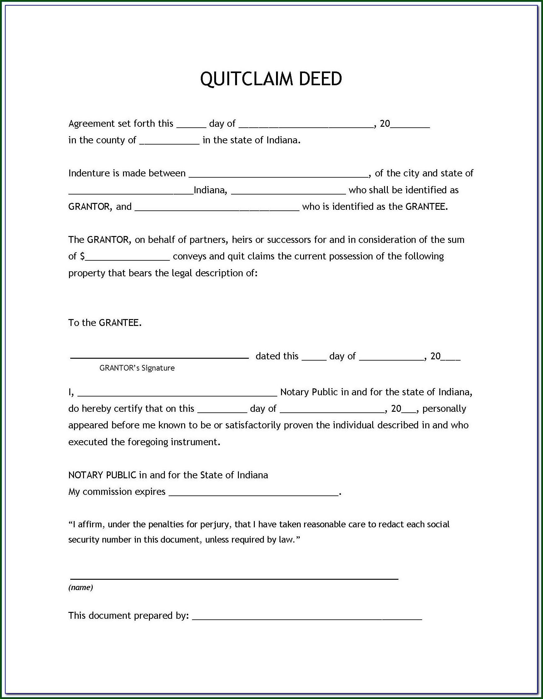 Quitclaim Deed Form Illinois Pdf