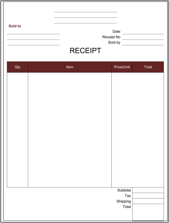 Receipt Template Free Excel