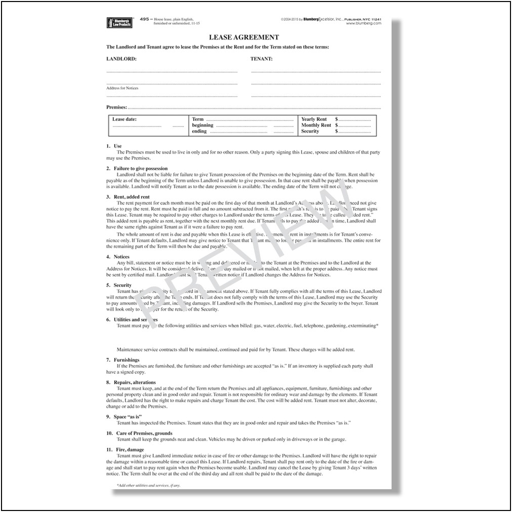 Rental Lease Agreement Template Ny