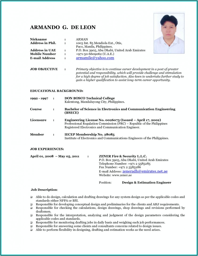 Resume Blank Form For Seafarer