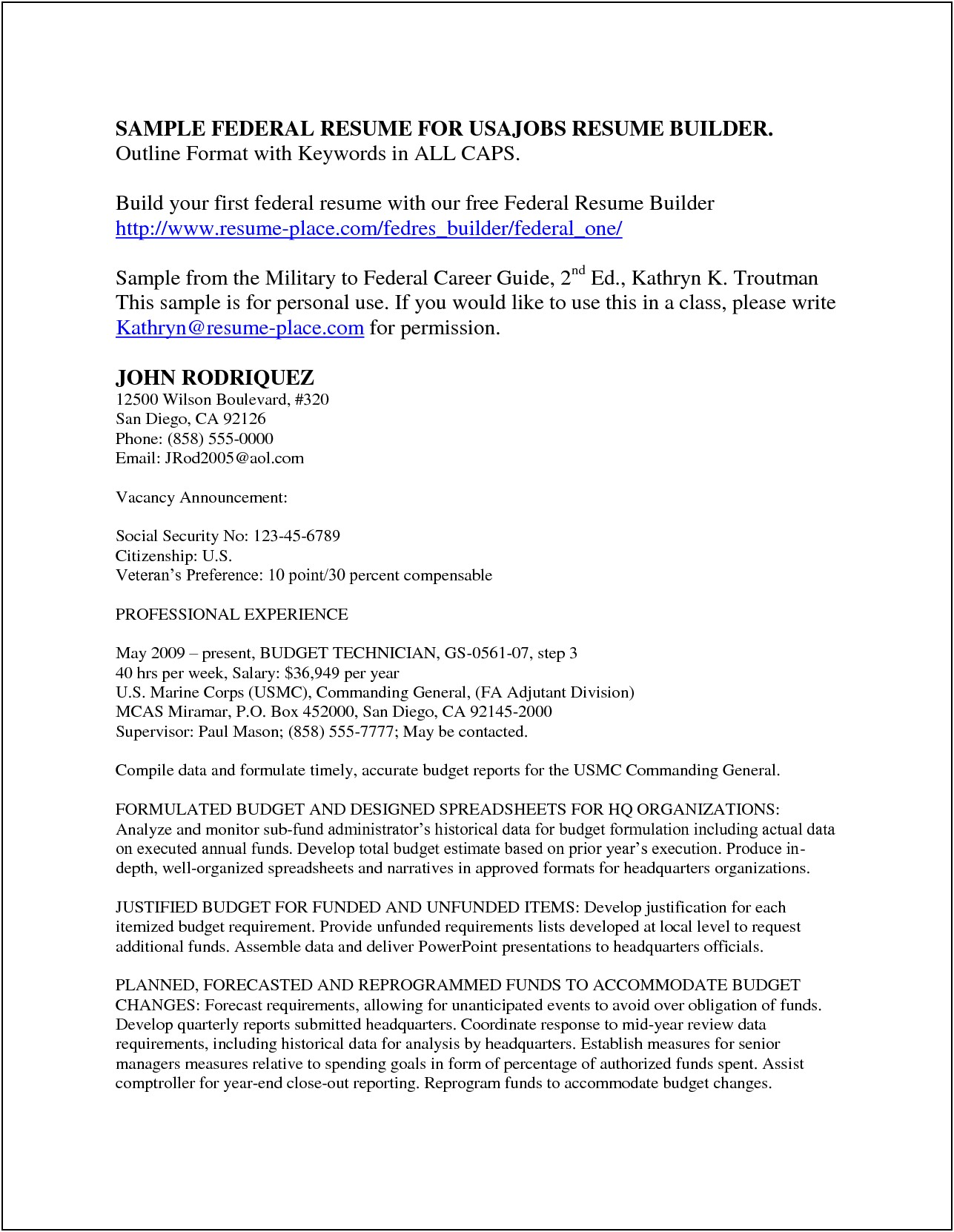 Resume For Federal Jobs Templates
