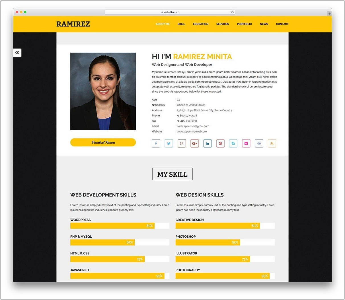 Resume Website Template Free Simple