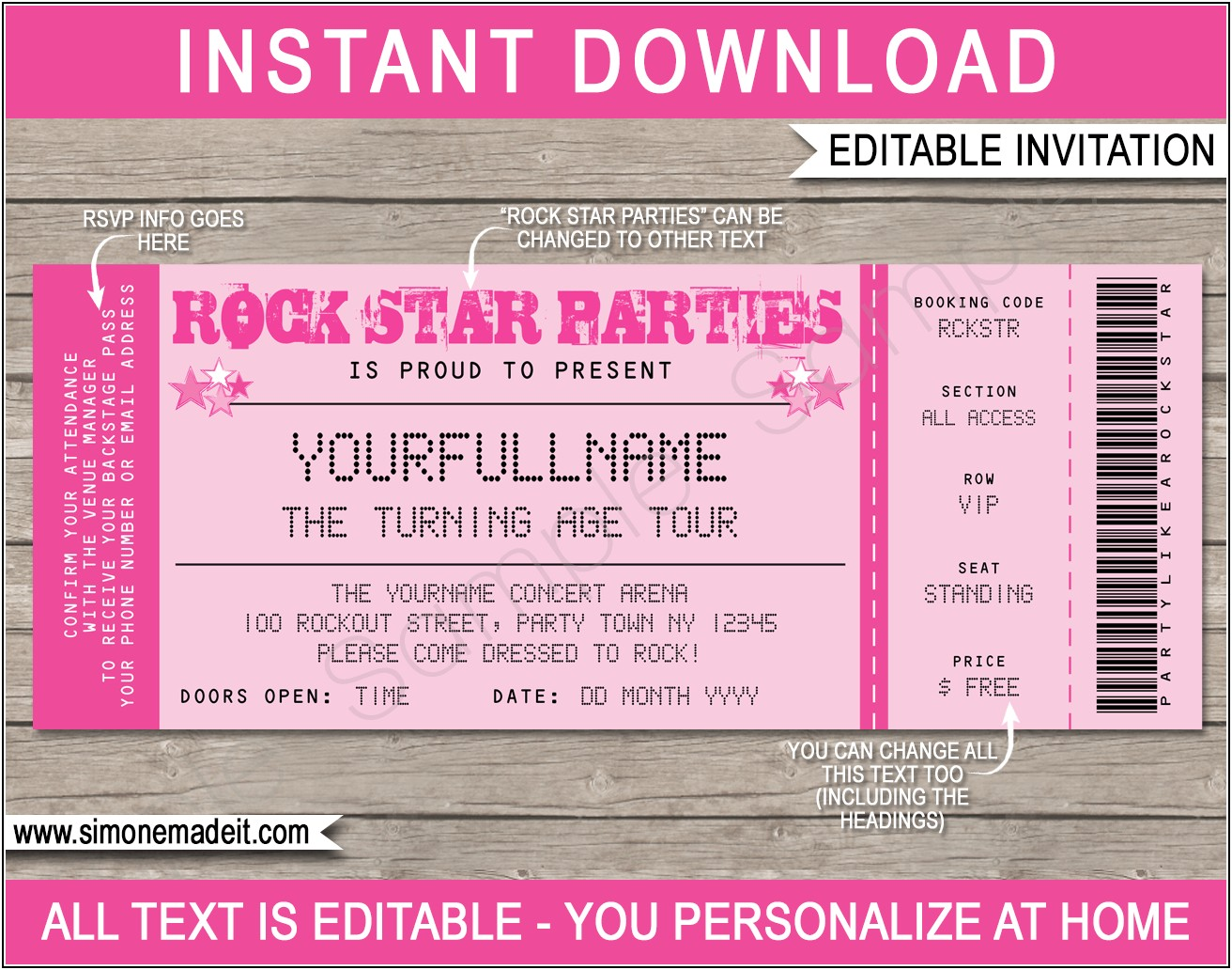 Rock Star Birthday Party Invitation Templates