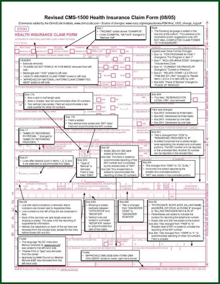 Sample 1500 Claim Form