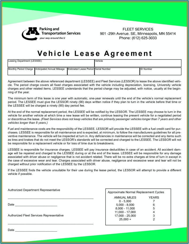 Sample Car Rental Agreement Form