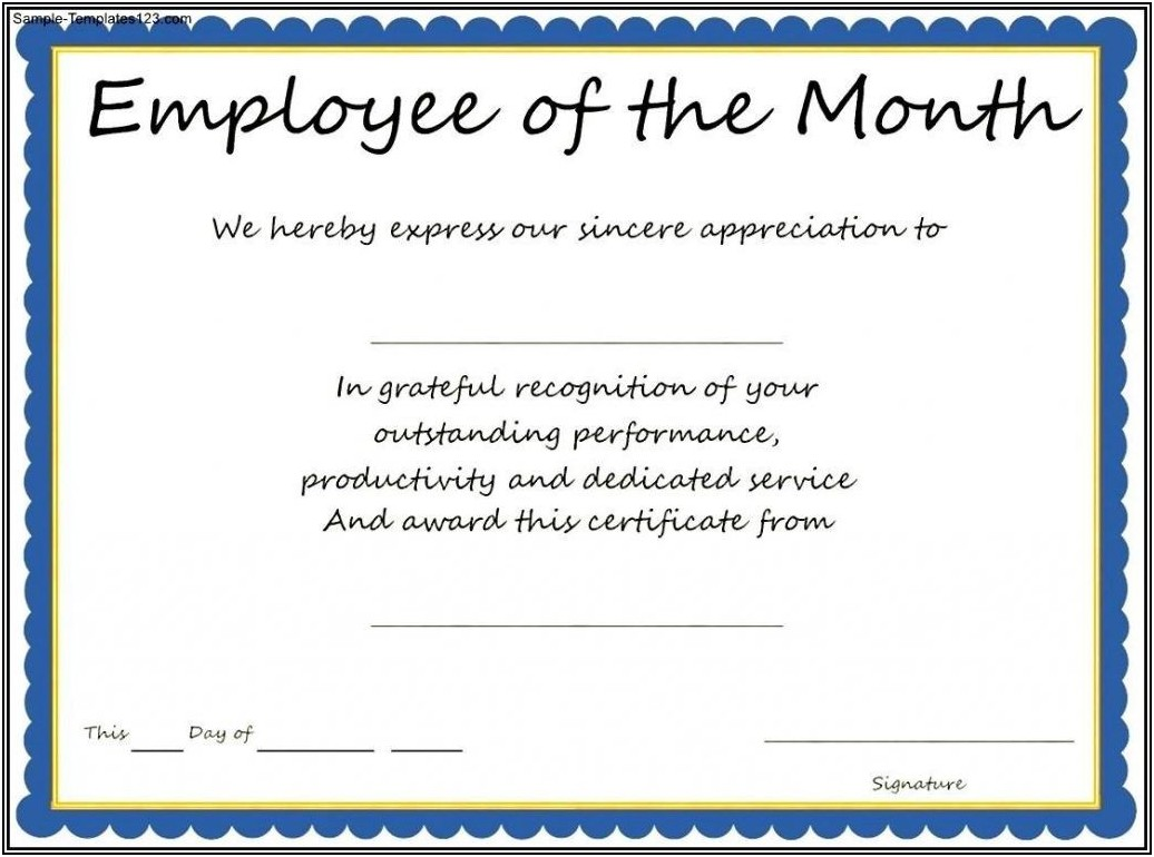 Sample Certificate Of Award
