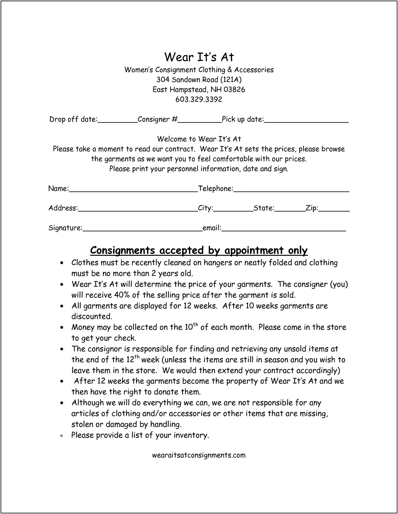 Sample Consignment Shop Business Plan Template