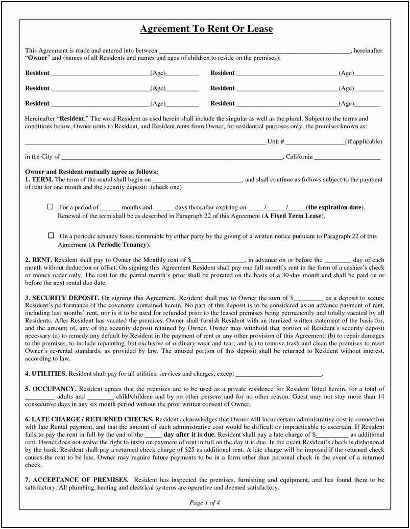 Sample Residential Lease Agreement Florida