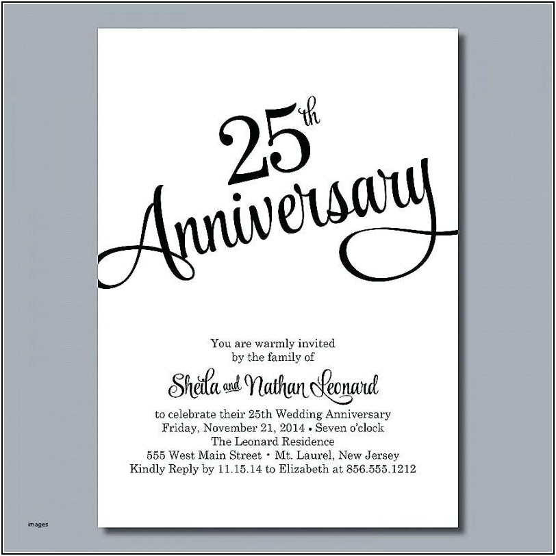 Silver Wedding Anniversary Invitation Templates Free
