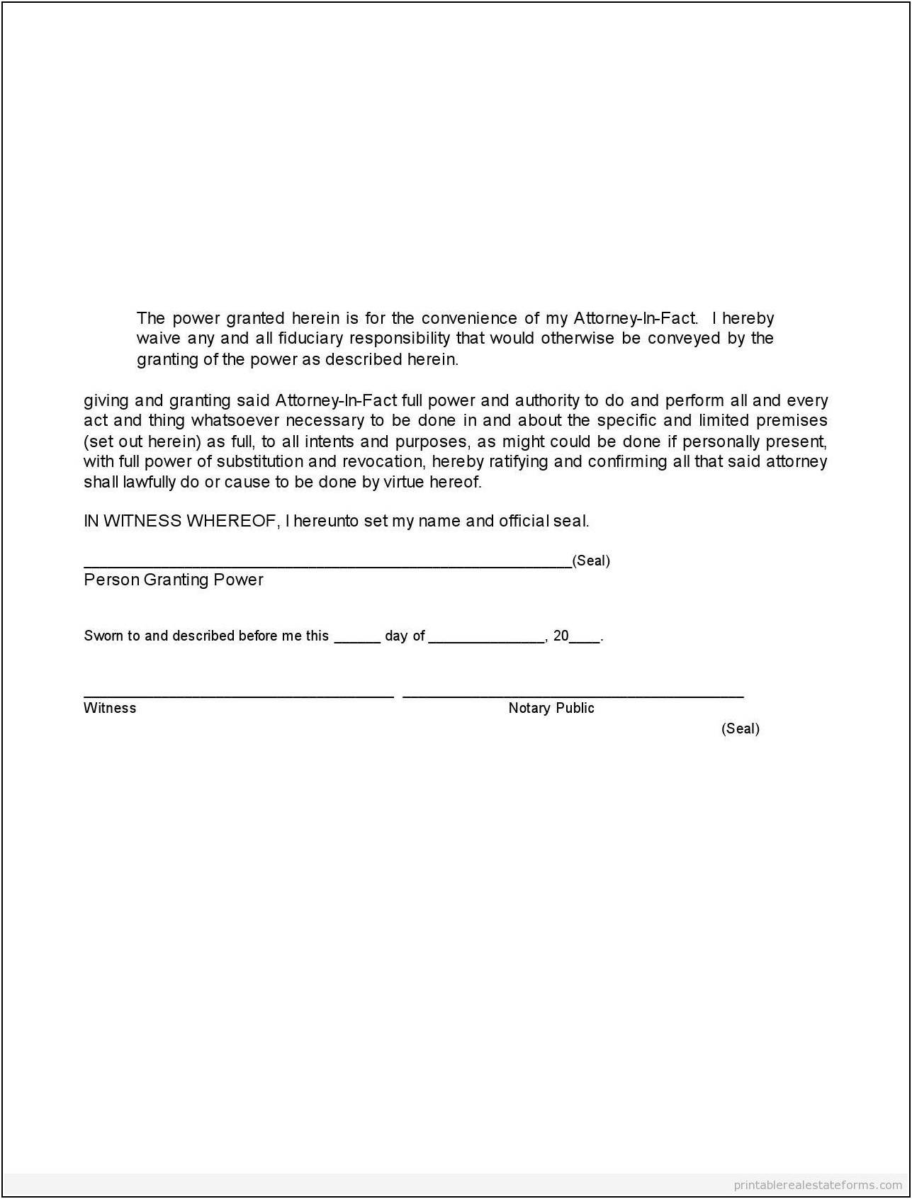 Simple Power Of Attorney Letter Template