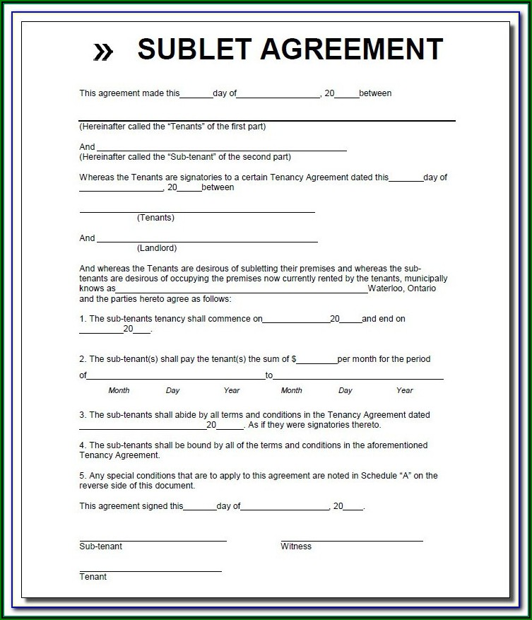 Simple Sublease Form