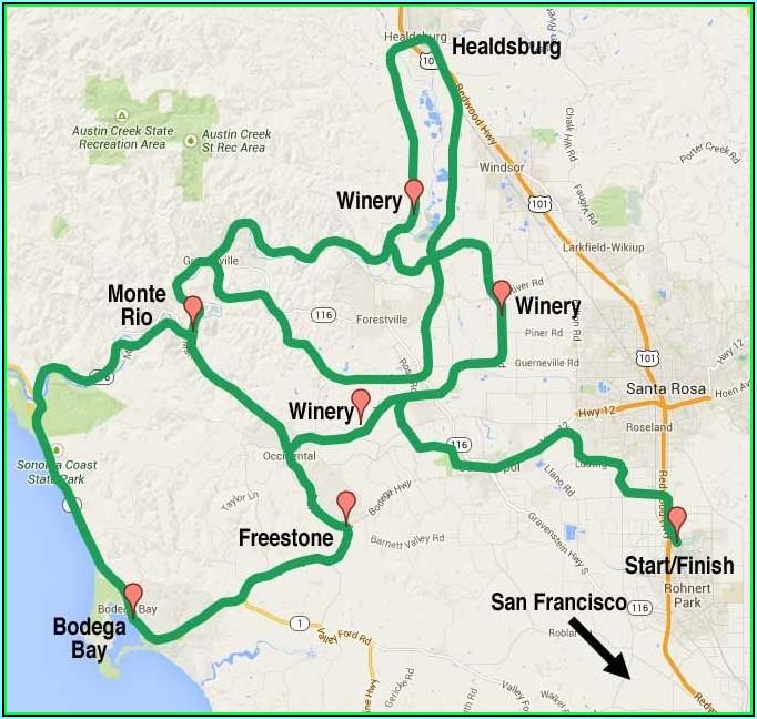 Sonoma Wine Route Map