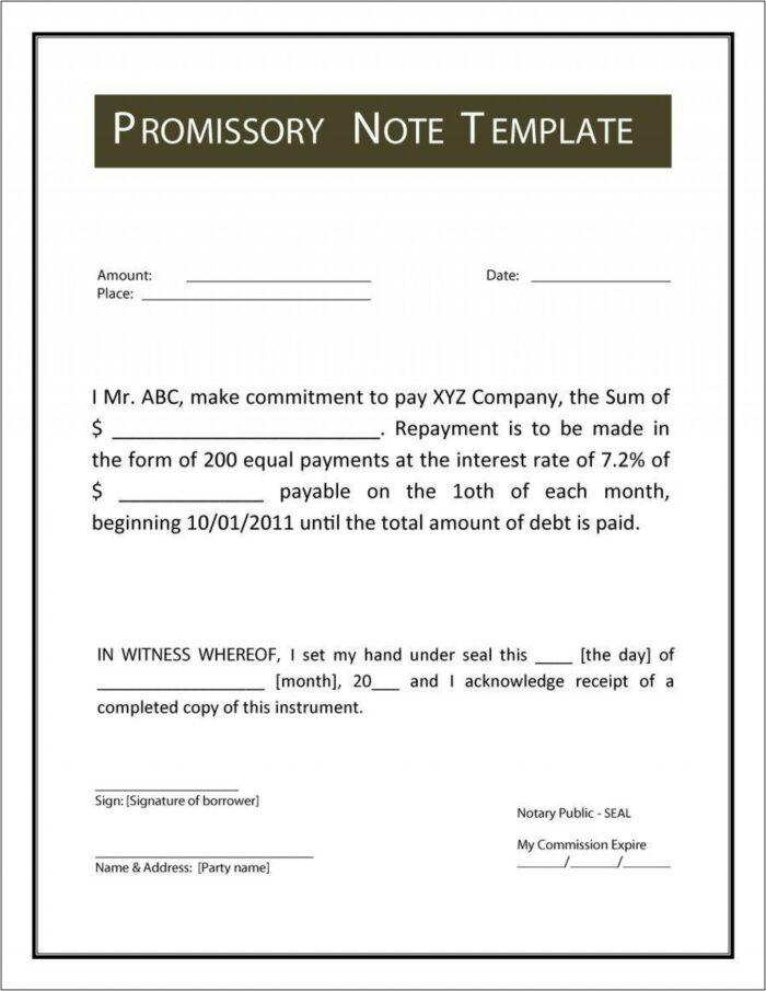 Standard Promissory Note Word Template