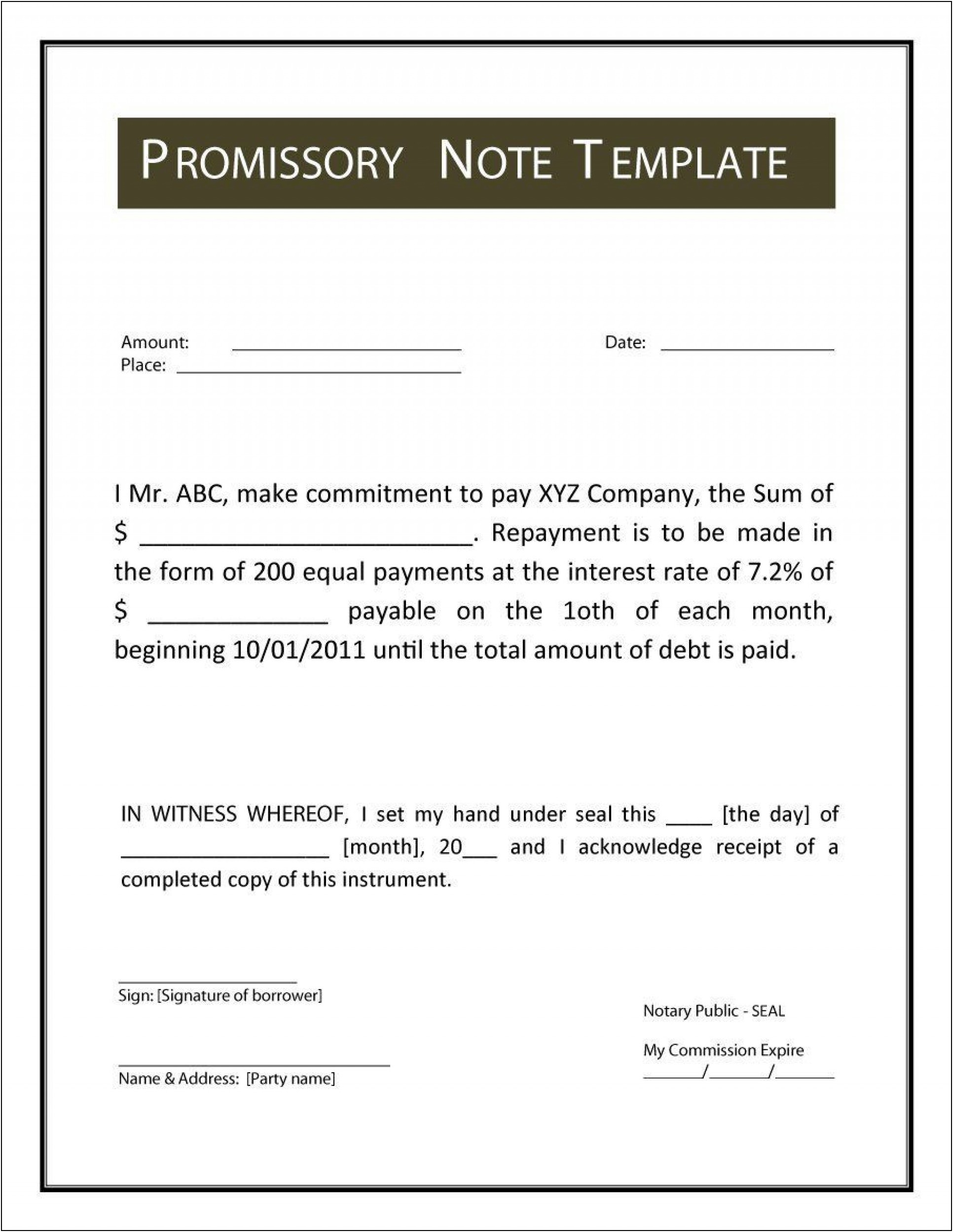 Standard Promissory Note Word Template