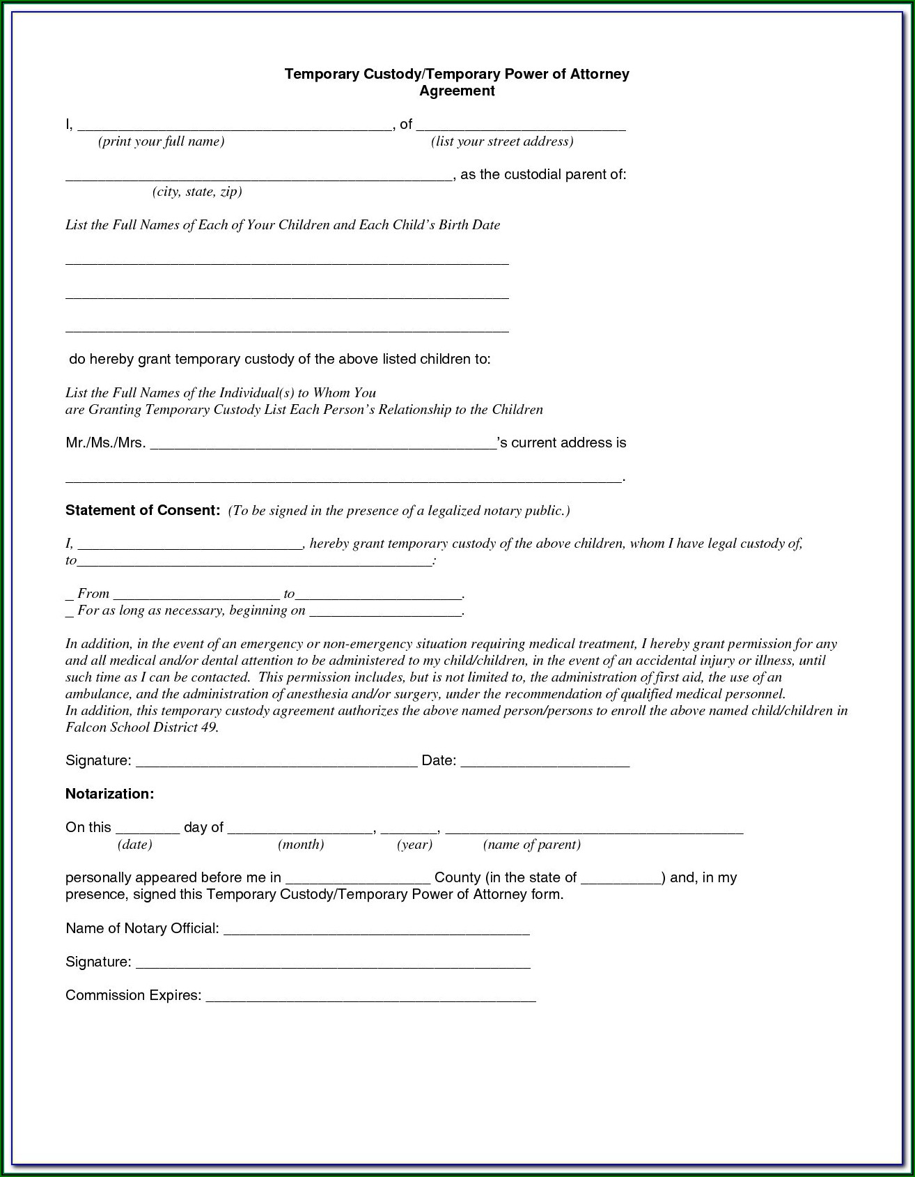 Standby Guardianship Form Illinois