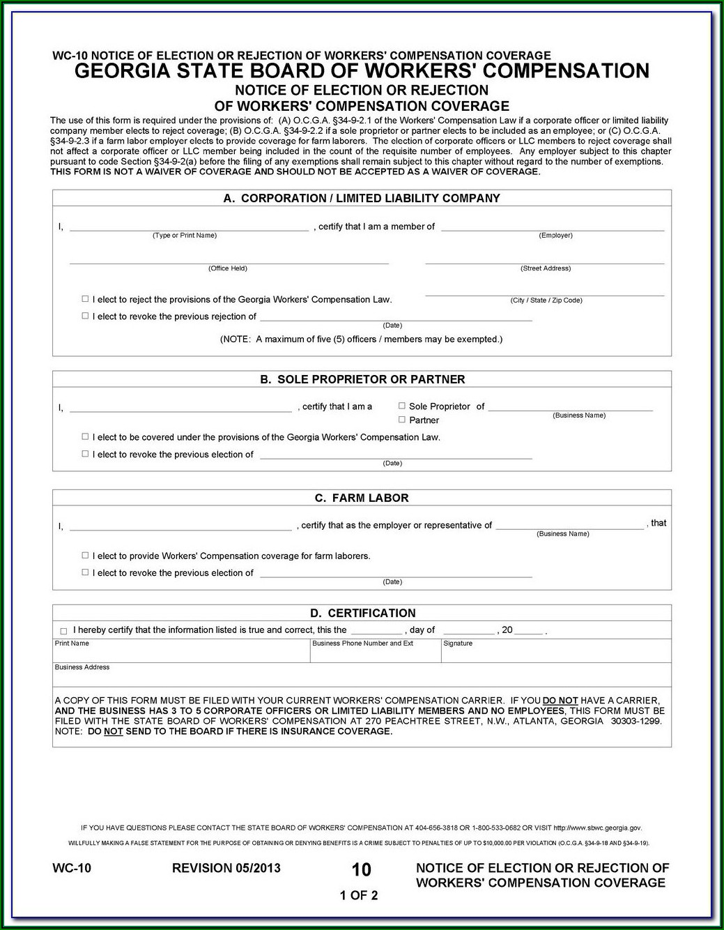 State Of Colorado Workers Comp Waiver Form