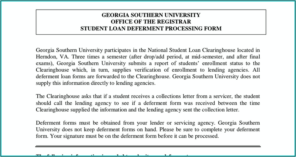 Student Loan Deferment Forms