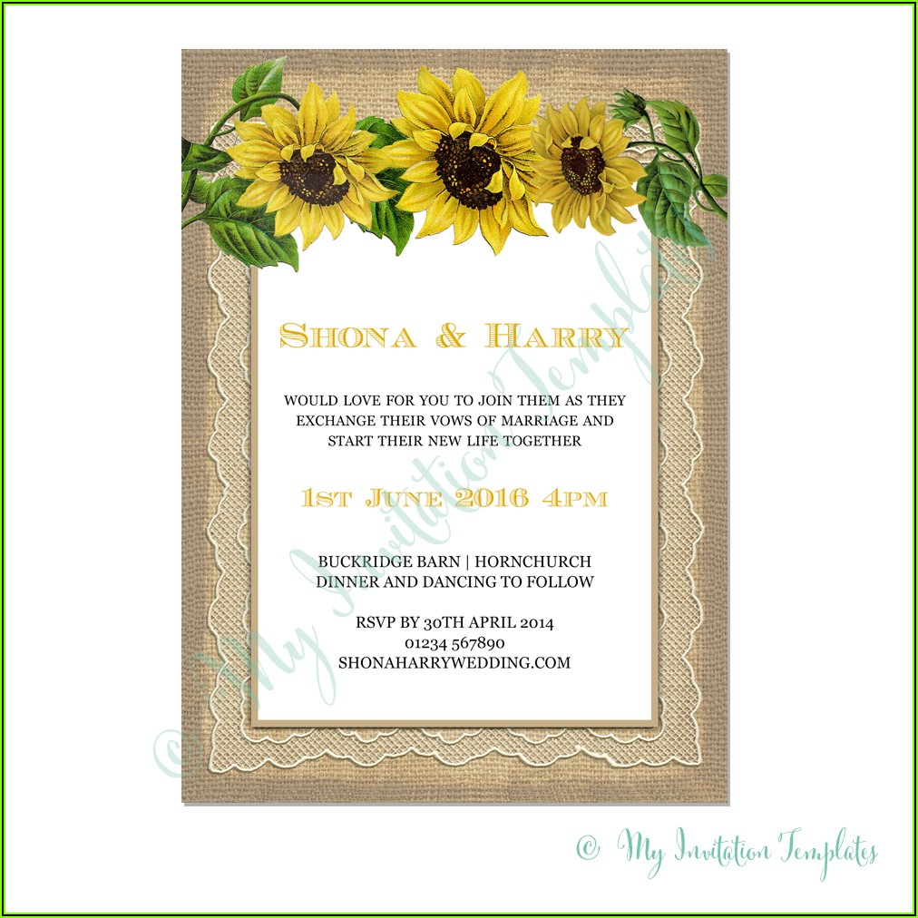 Sunflower Wedding Invitation Template Free