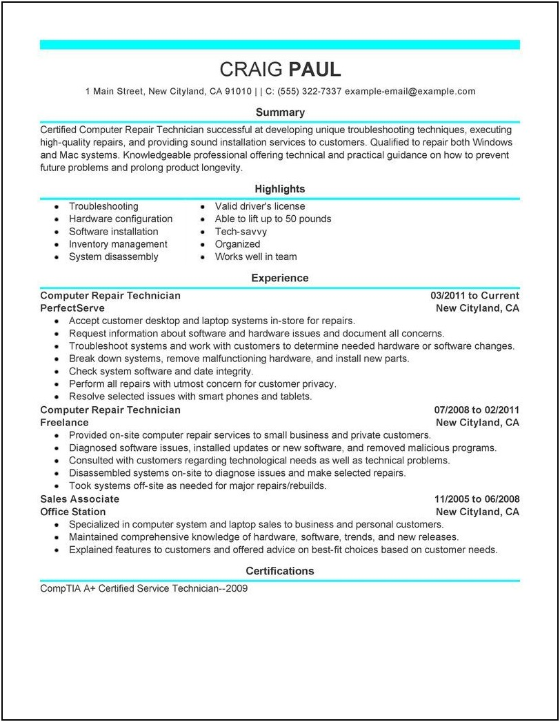 Technician Resume Templates Free Download