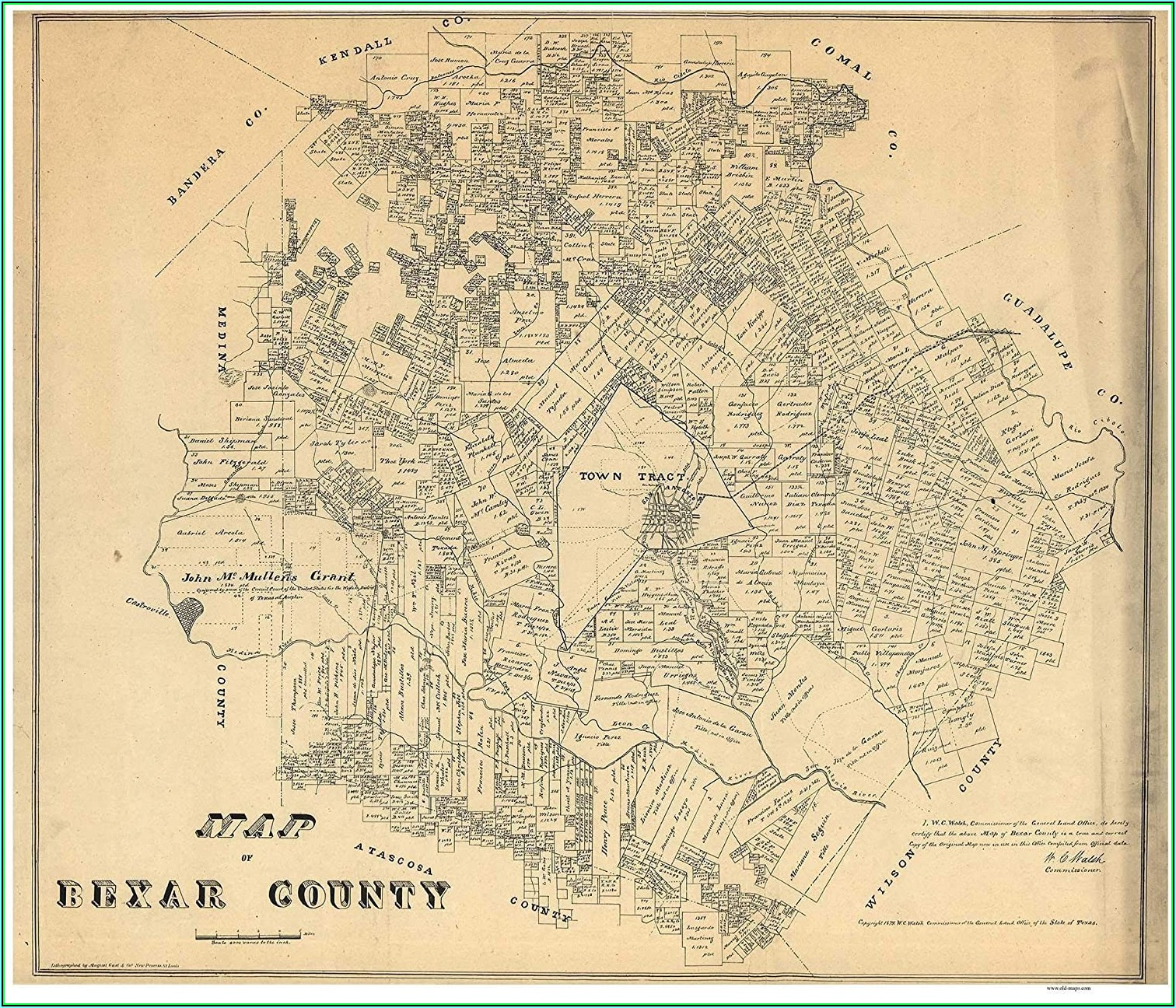 Texas County Wall Map