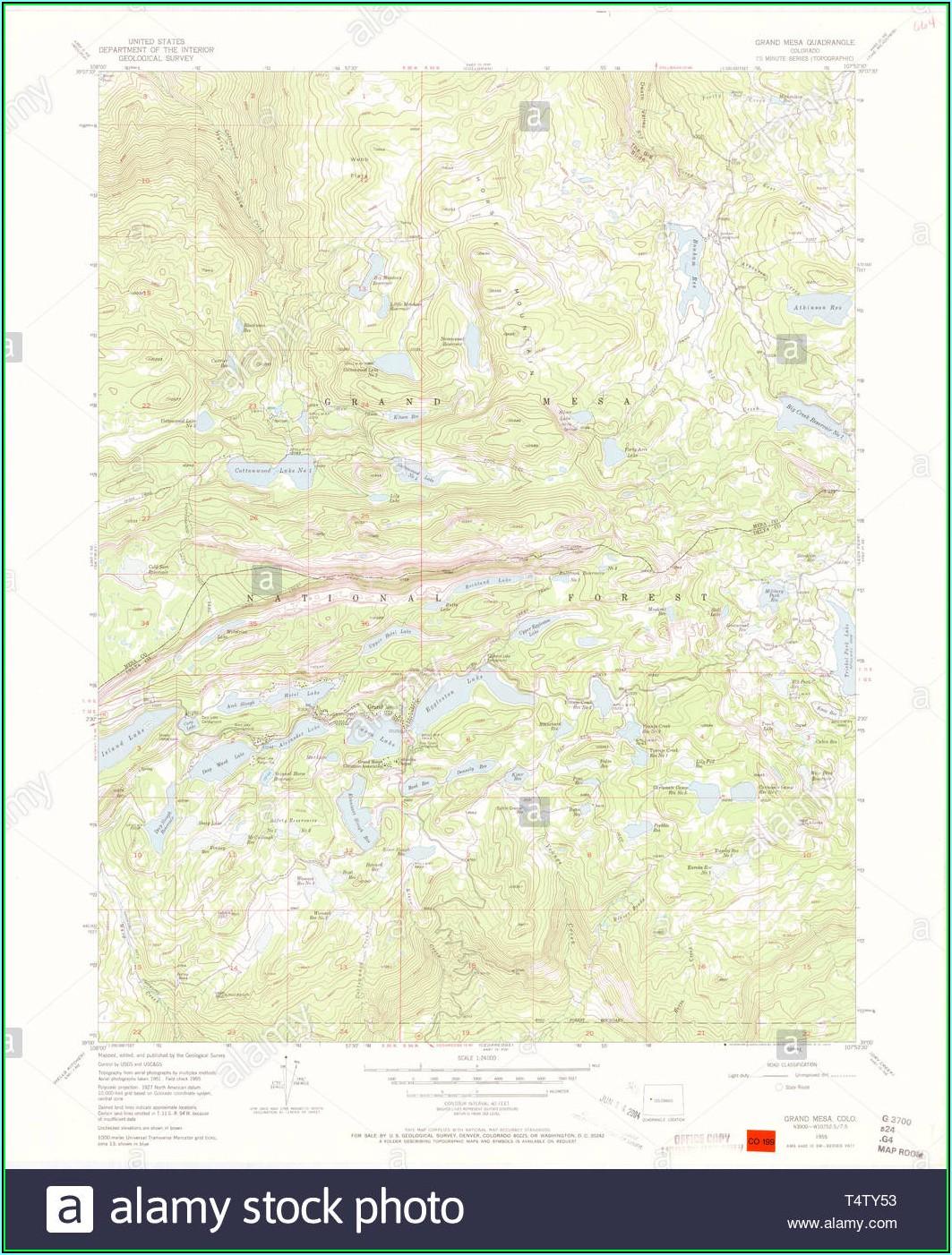 Topo Map Of Grand Mesa Colorado