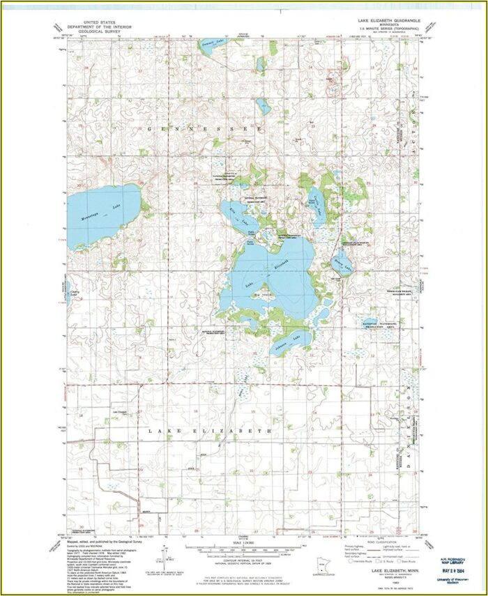 Topographic Lake Maps Mn