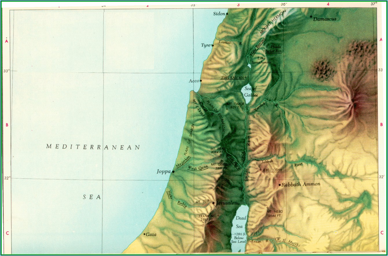 Topographic Map Of Ancient Palestine