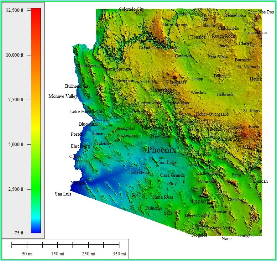 Topographic Map Of Arizona With Cities