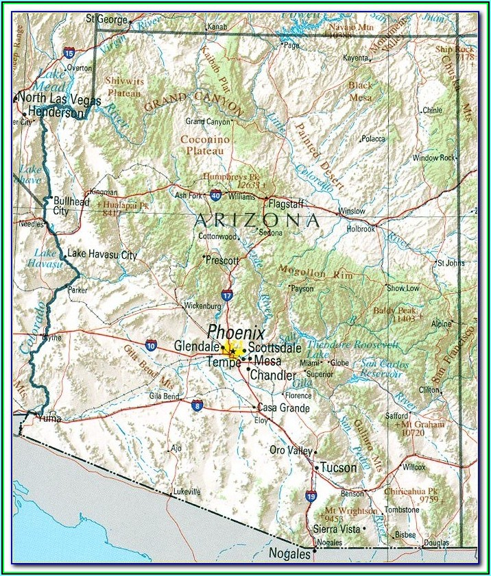 Topographic Map Of Arizona With Elevations
