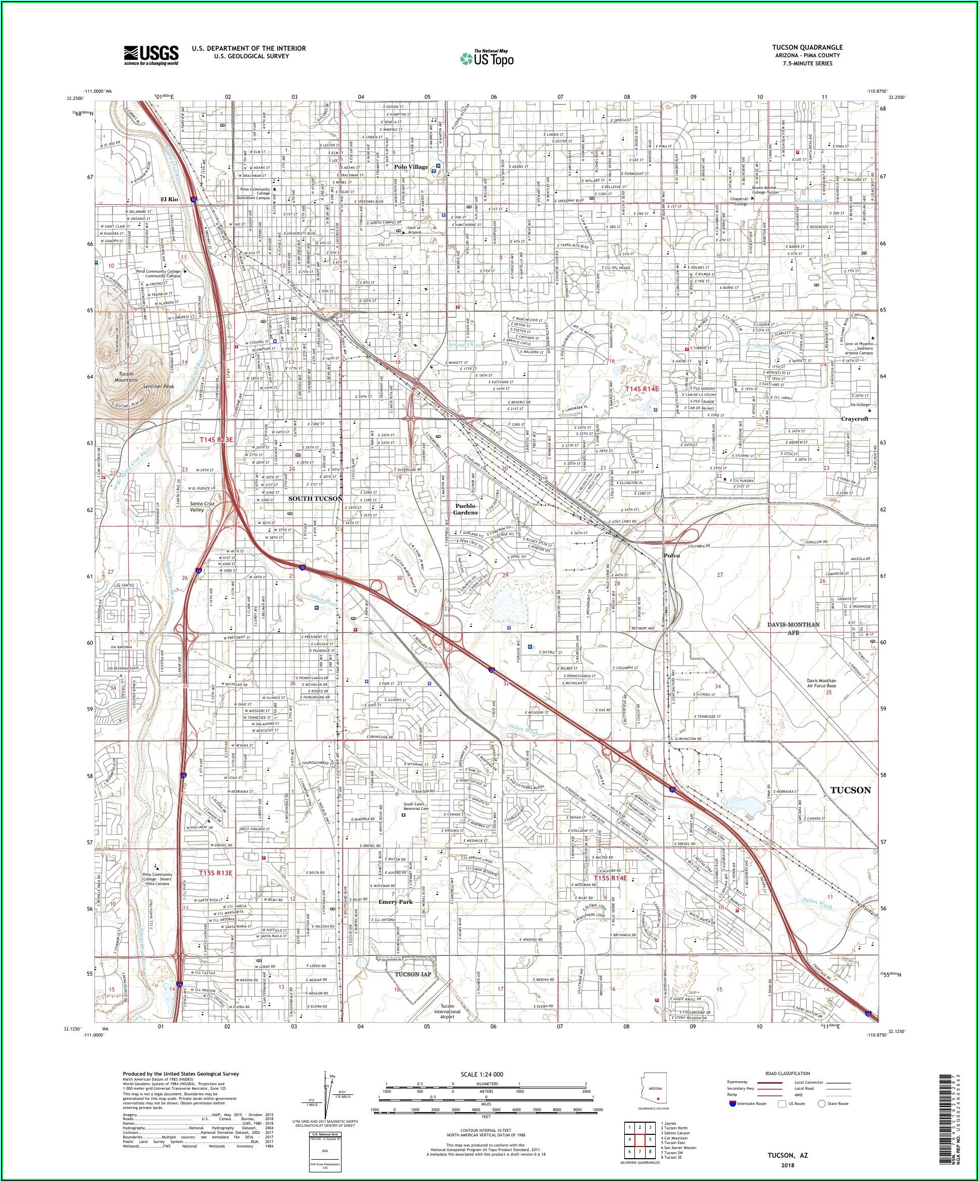 Topographic Maps Tucson Arizona