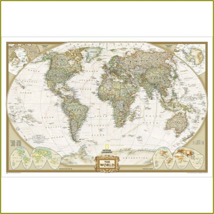 Topographic World Map Poster