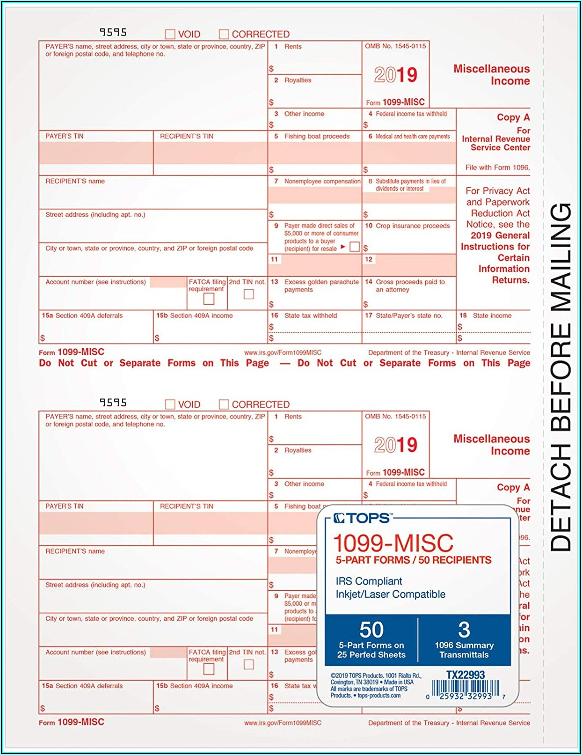 Tops 1099 Misc Forms