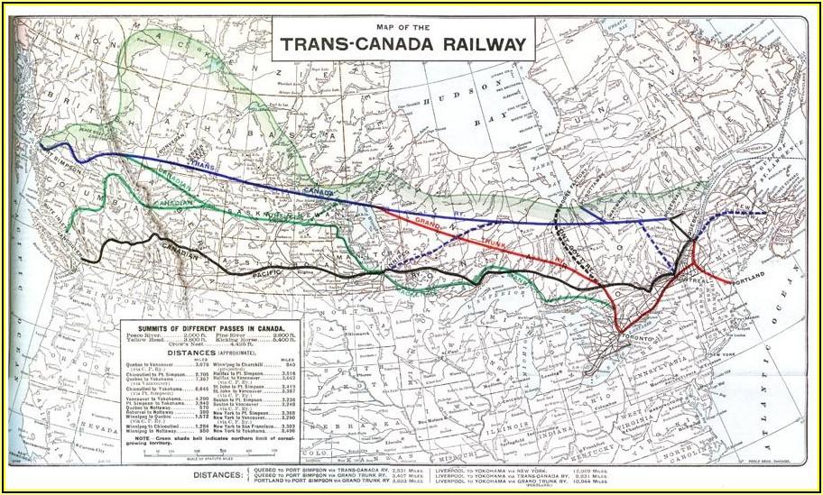 Trans Canada Railway Map