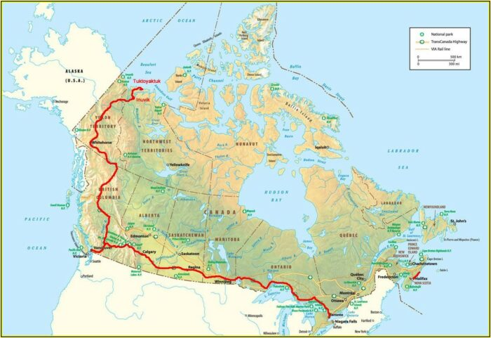 Trans Canada Railway Route Map