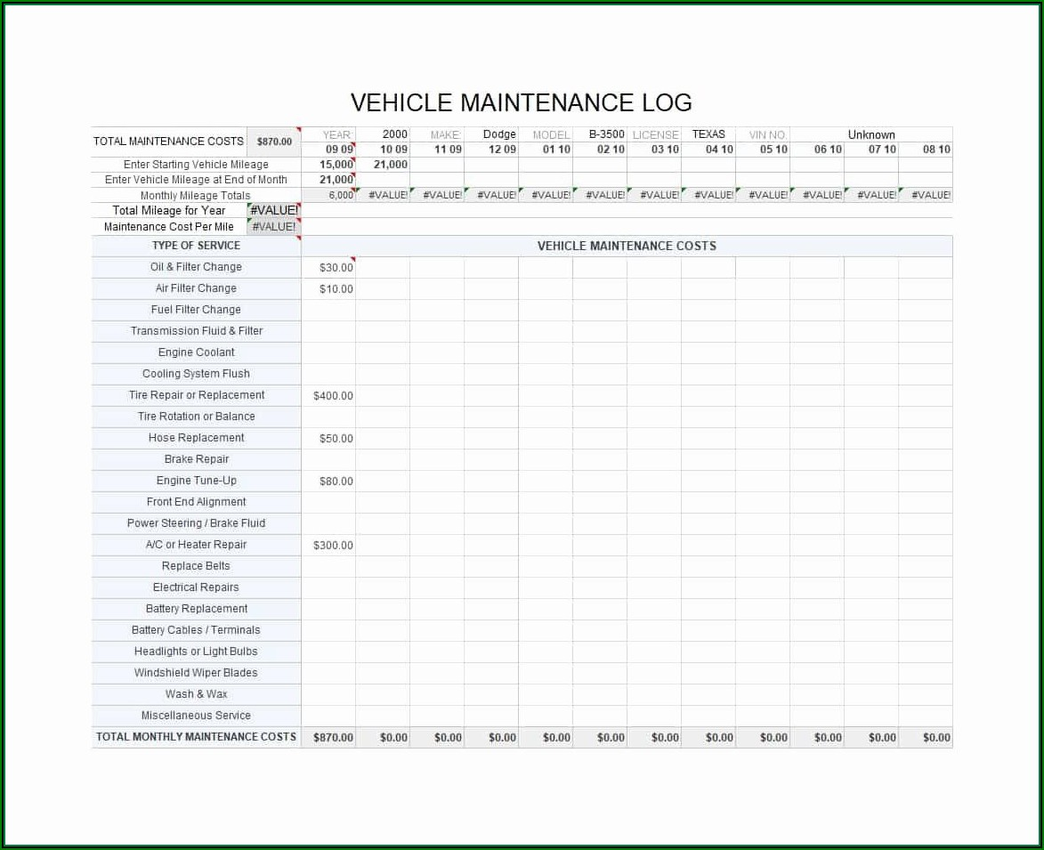 Truck Preventive Maintenance Checklist Template
