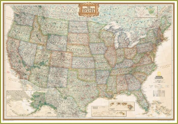 United States Map Poster Laminated