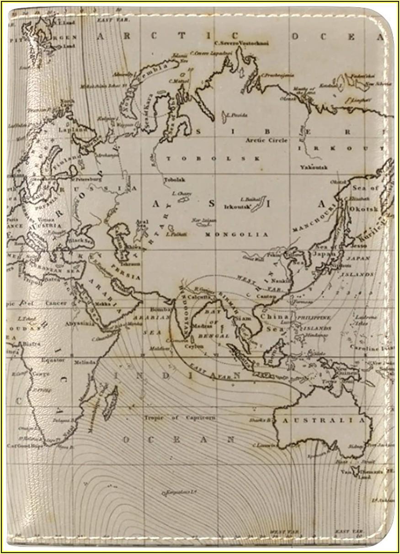 Vintage World Map Passport Cover