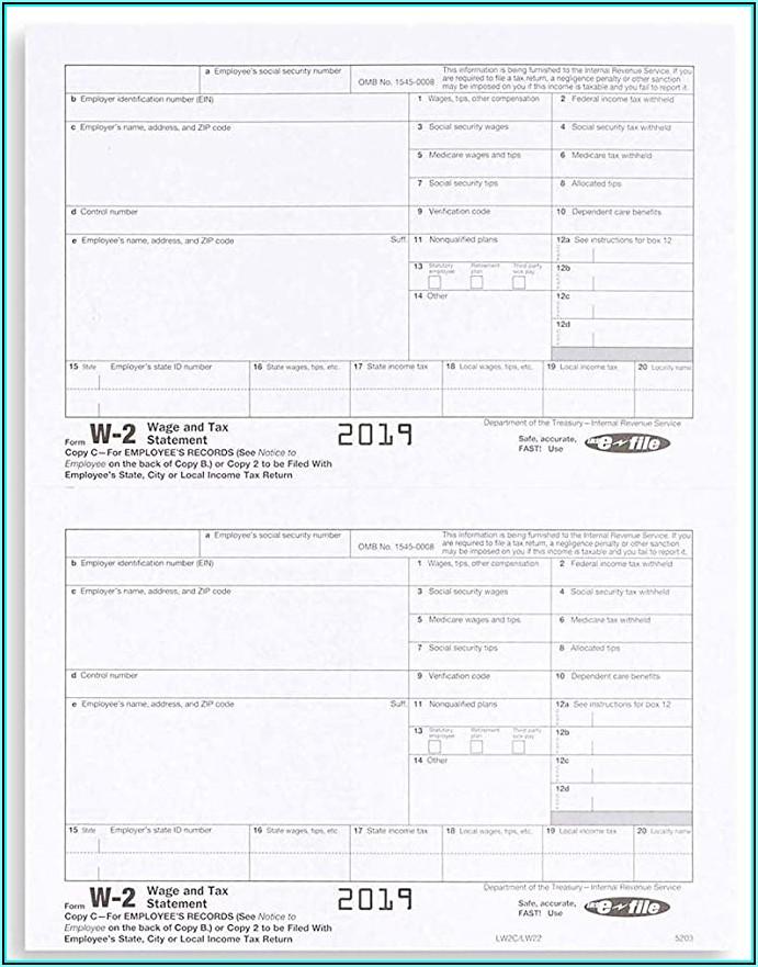 W2 Tax Form 2019