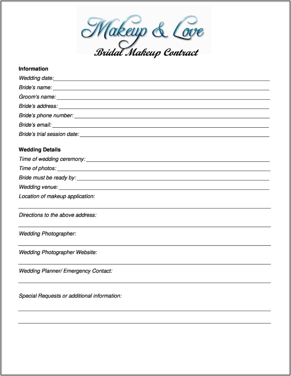 Wedding Makeup Contract Template Free