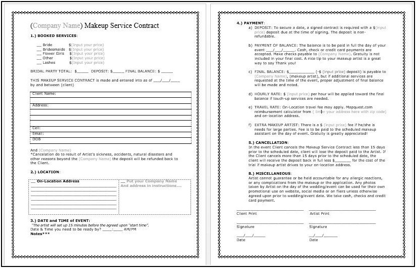 Wedding Makeup Contract Template