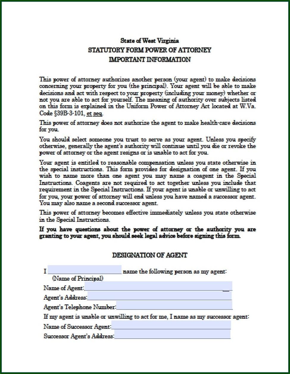 West Virginia Dmv Power Of Attorney Form
