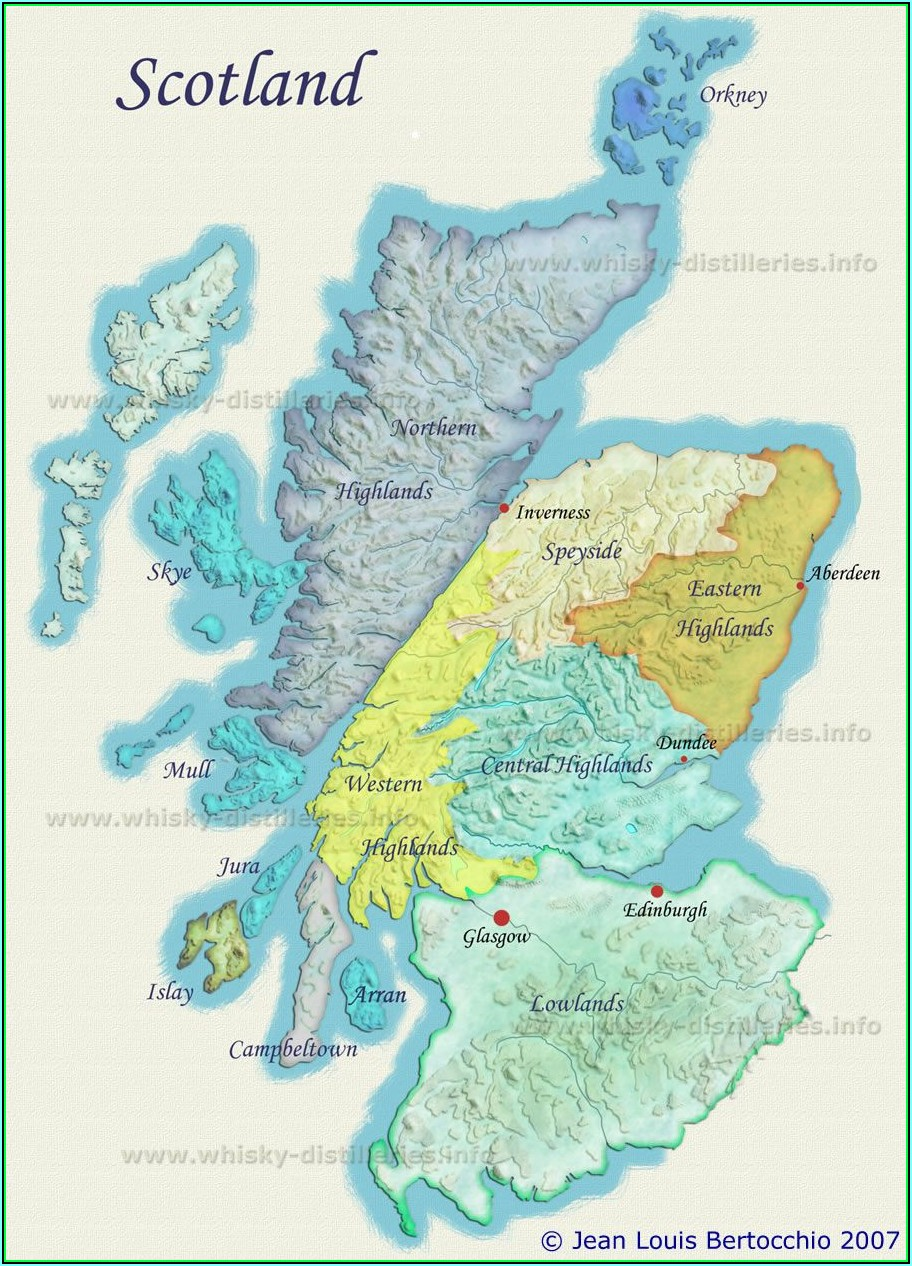 Whisky Map Of Distillery Regions In Scotland