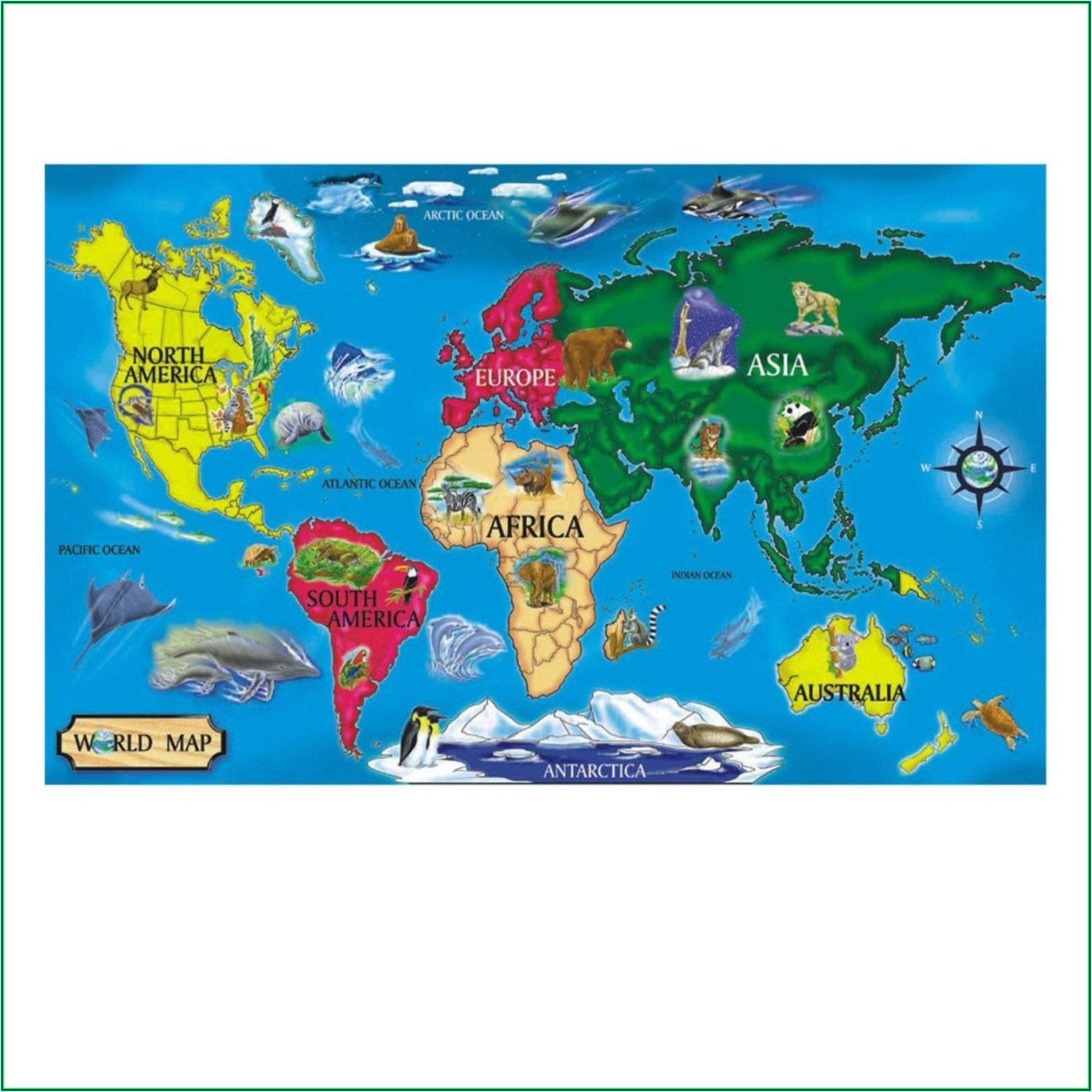 World Map 33 Piece Floor Puzzle