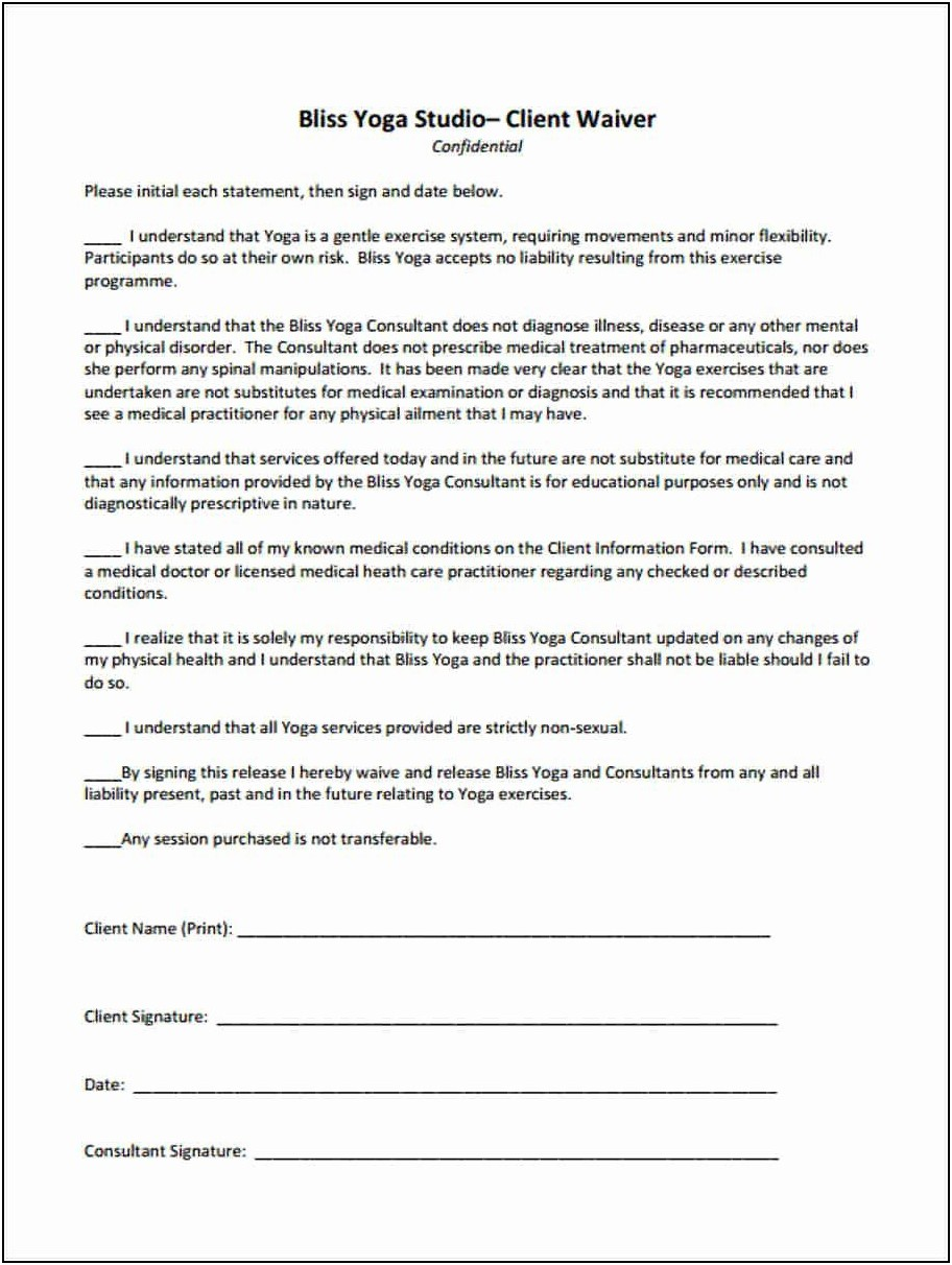Yoga Waiver Template