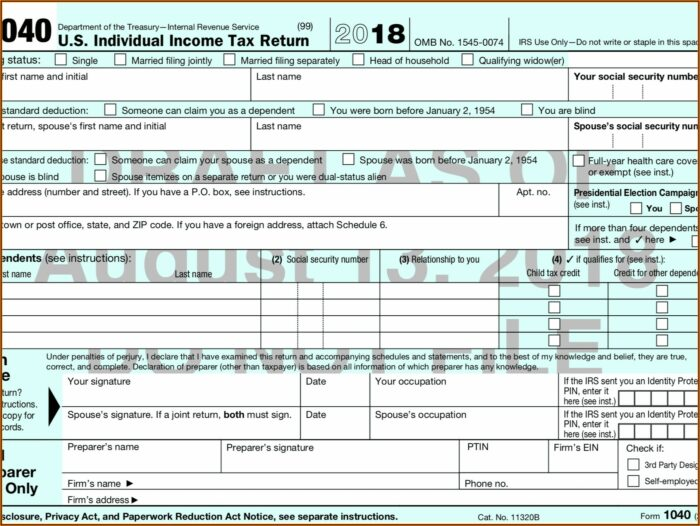 1040 Easy Tax Form 2018
