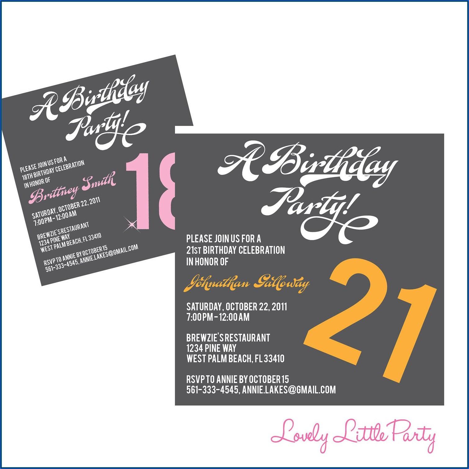 21st Birthday Invitation Templates Free Printable