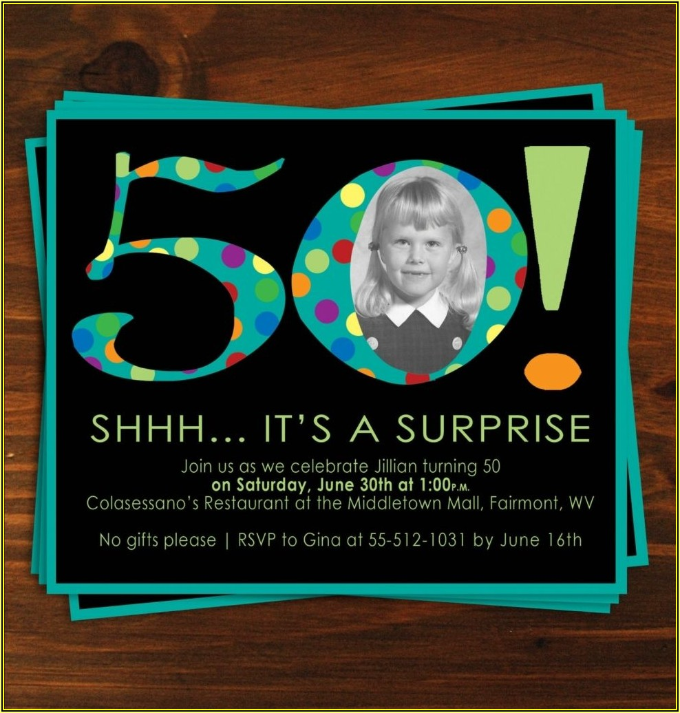 50th Surprise Birthday Party Invitation Templates