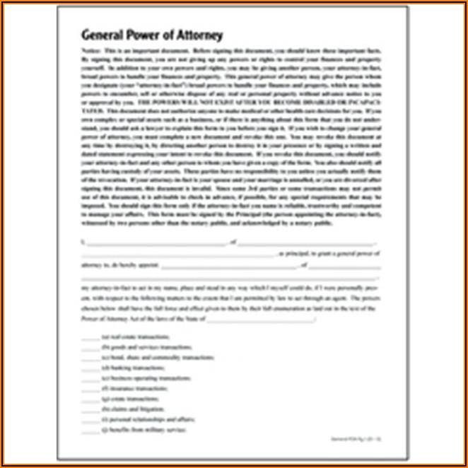Adams General Power Of Attorney Form