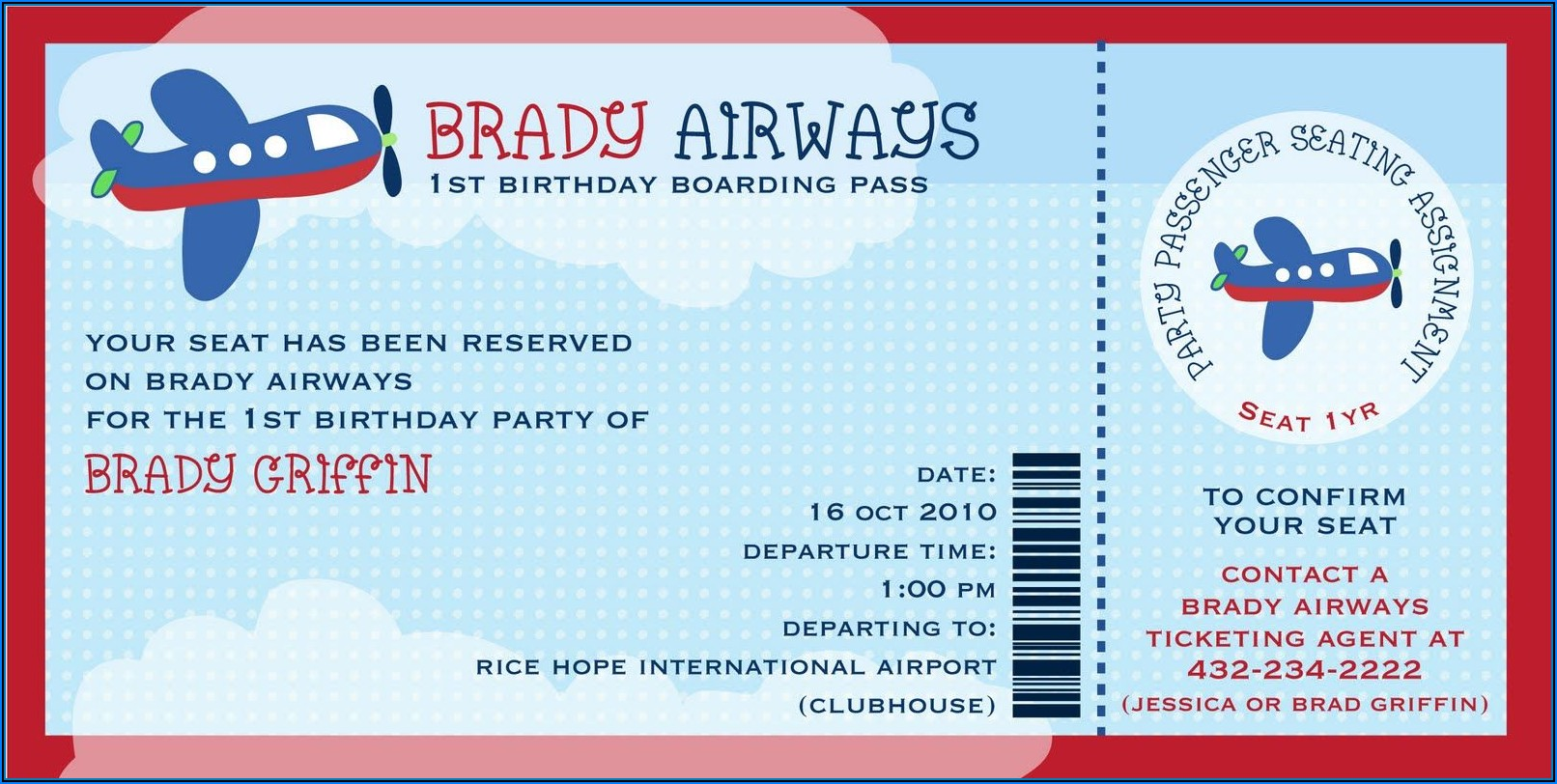 Airline Ticket Party Invitation Template